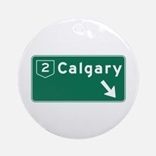Calgary, Canada Hwy Sign Ornament (Round)