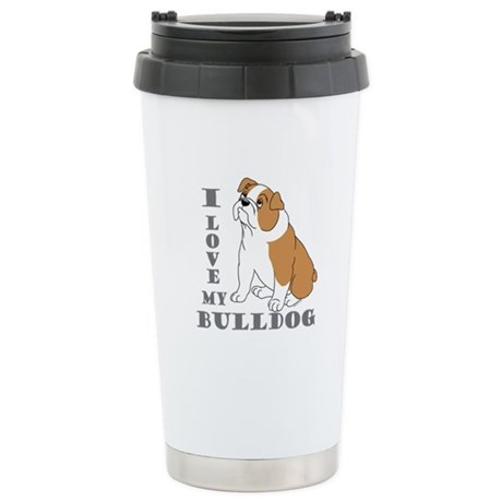 Bulldog, Eng. (Brn&wht) Stainless Steel Travel Mug