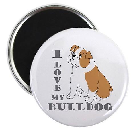 """Bulldog, Eng. (Brn&wht) 2.25"""" Magnet (10 pack)"""