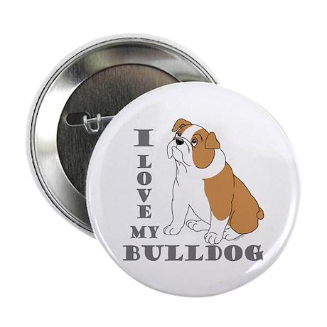 """Bulldog, Eng. (Brn&wht) 2.25"""" Button (100 pack)"""