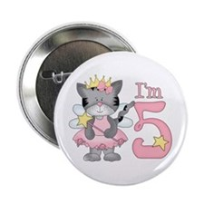 "Kitty Princess 5th Birthday 2.25"" Button"