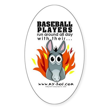 Baseball Players Oval Sticker