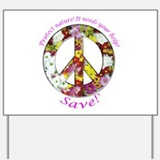 Yard Sign Peace Flowers