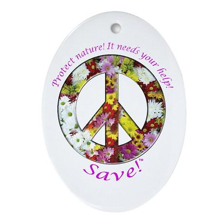Ornament (Oval) Peace Flowers