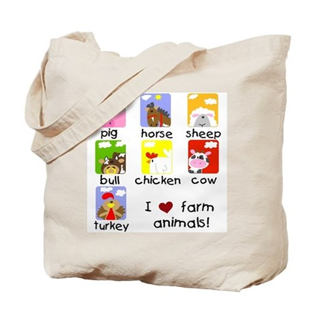 I Love Farm Animals Tote Bag