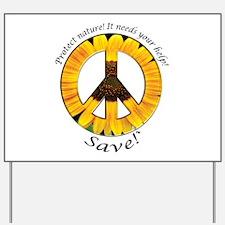 Yard Sign Peace Sunflower