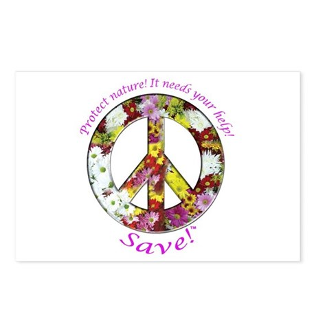 Postcards Peace Flowers (Package of 8)