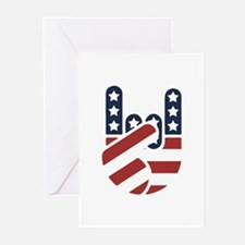 Rock Hand USA Greeting Cards (Pk of 10)
