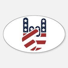 Rock Hand USA Oval Decal