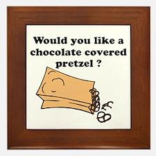 Chocolate covered pretzel Framed Tile