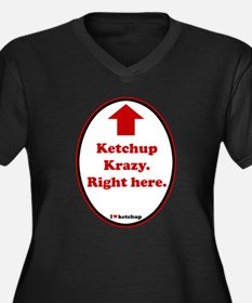 Ketchup Krazy Women's Plus Size V-Neck Dark T-Shir