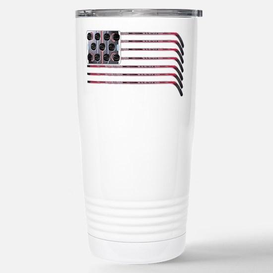 US Hockey Flag Stainless Steel Travel Mug