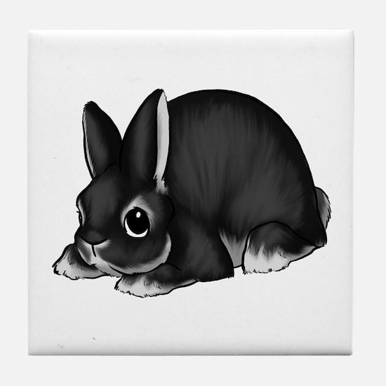 Black Silver Marten Tile Coaster