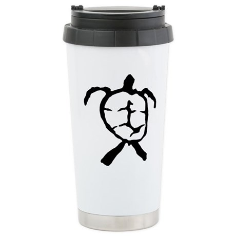 Hawaiian Turtle - BW Stainless Steel Travel Mug