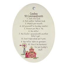 10 Commandments - Farm Oval Ornament