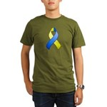 Blue and Yellow Awareness Rib Organic Men's T-Shir