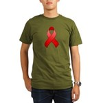 Red Awareness Ribbon Organic Men's T-Shirt (dark)
