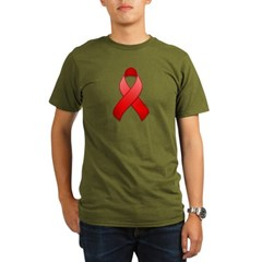 Red Awareness Ribbon Organic Men's T-Shirt (dark)