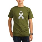 White Awareness Ribbon Organic Men's T-Shirt (dark
