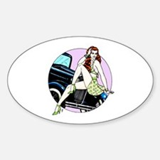 Redhead Car Pinup Oval Decal