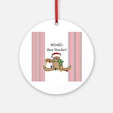 Bear World's Best Teacher Ornament (Round)