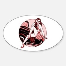 RH Red Car Pinup Oval Decal