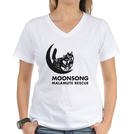 Moonsong Malamute Rescue Women's V-Neck T-Shirt