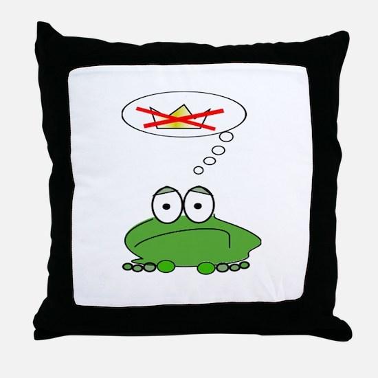 Sad Frog Prince Throw Pillow