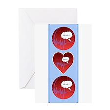 Uh Oh FlatlineTri-v Greeting Card
