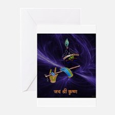 Krishna - The Flute Player Greeting Cards (Pk of 2