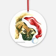 Leonberger Puppy in Santa Hat Ornament (Round)