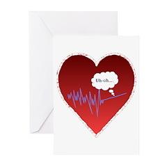 Uh Oh FlatlineTri-v Greeting Cards (Pk of 10)