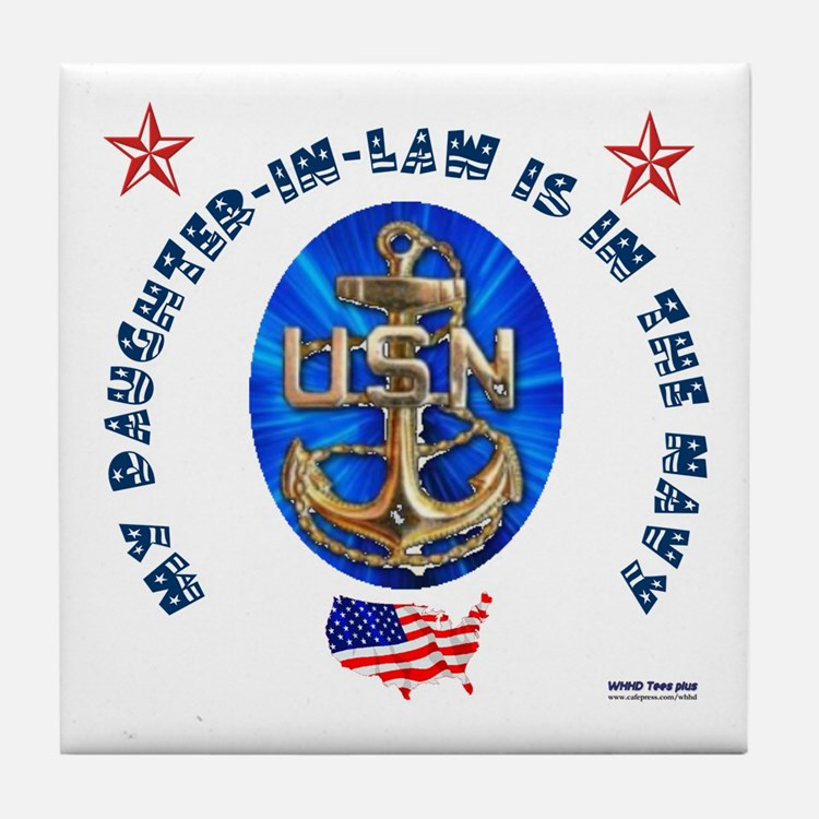 Navy Daughter-In-Law Tile Coaster