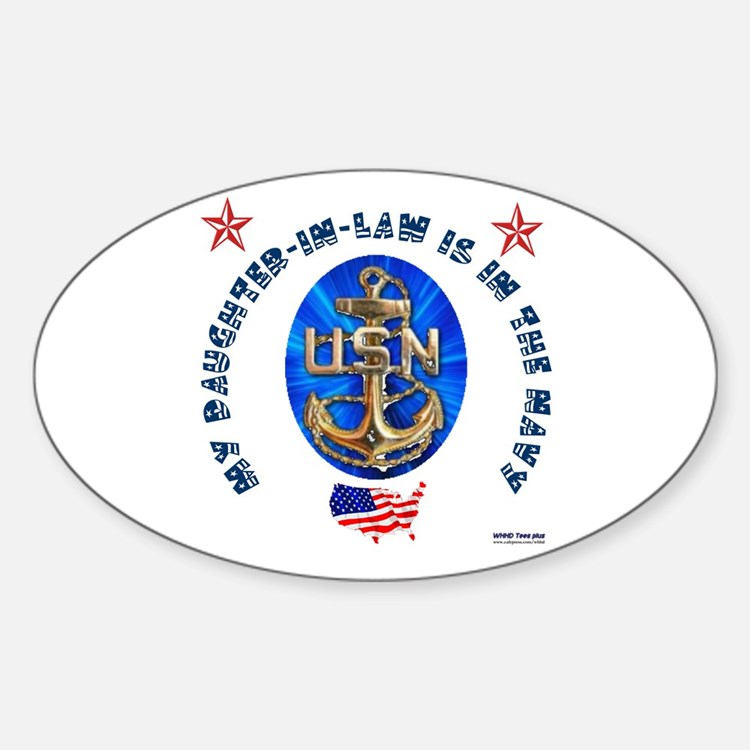 Navy Daughter-In-Law Oval Decal