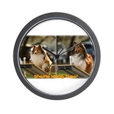 Sheltie Hang Time x 2 Wall Clock