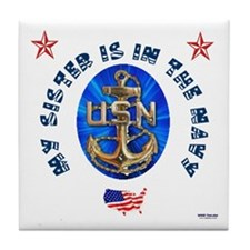 Navy Sister Tile Coaster