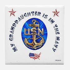 Navy Granddaughter Tile Coaster