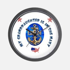 Navy Granddaughter Wall Clock