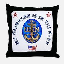 Navy Grandson Throw Pillow