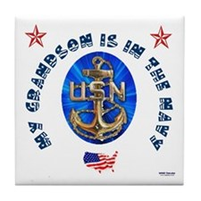 Navy Grandson Tile Coaster
