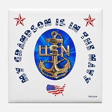 Navy Grandson Tile Coaster