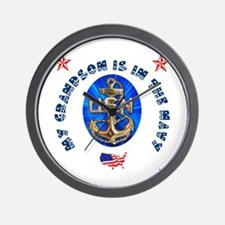 Navy Grandson Wall Clock
