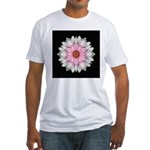 Pink and White Dahlia I Fitted T-Shirt