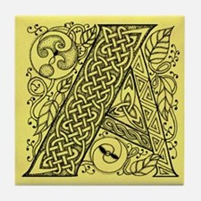 Celtic Letter A Tile Coaster