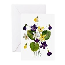 VIOLET BOUQUET FAUX EMBROIDERY Greeting Cards (Pk