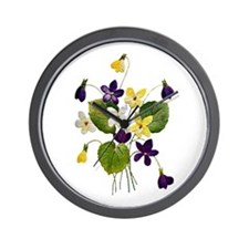 VIOLET BOUQUET FAUX EMBROIDERY Wall Clock