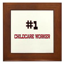 Number 1 CHILDCARE WORKER Framed Tile