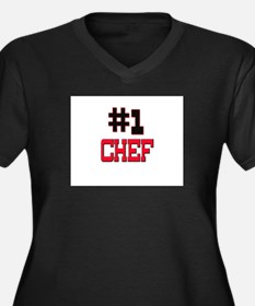 Number 1 CHEF Women's Plus Size V-Neck Dark T-Shir