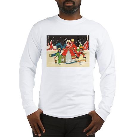 Vintage Christmas Carolers Singing Long Sleeve T-S