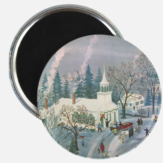 "Vintage Christmas Church 2.25"" Magnet (100 pack)"